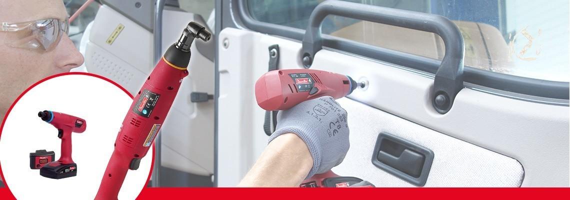 Spoznajte serijo E-LIT družbe Desoutter Industrial Tools. Najboljša ergonomija akumulatorskih orodij s sklopko z navorom od 0,4 do 45 Nm, 2 hitrostma in programsko opremo za konfiguracijo.