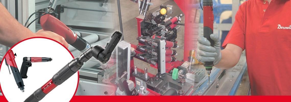 Spoznajte program dodatne opreme za pritrjevanje, ki ga je družba Desoutter Industrial Tools pripravila za vaše pnevmatsko orodje za pritrjevanje: nastavke za posebne vijake, vstavke za vijačenje in nastavke za električno vijačenje.